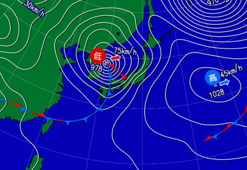 (上) けさ6時の天気図