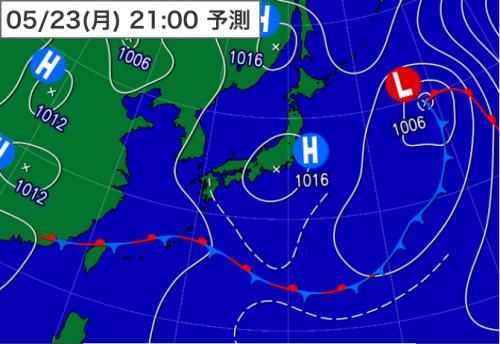 20160522_23日21時予想天気図