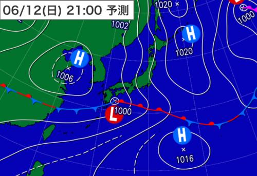 20160612_12日21時予想天気図