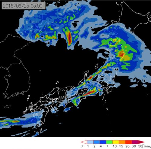 あす早朝の降雨分布予想