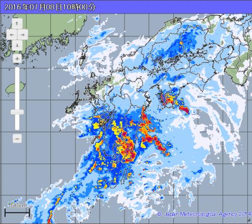 九州南部で雨雲が発達