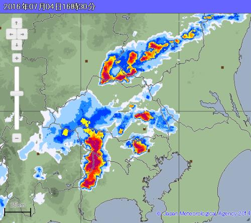 雷雲が西から接近 (16:30現在)