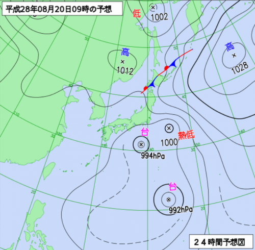 20日9時の予想天気図