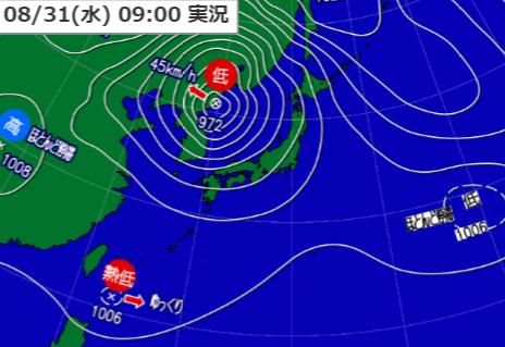 31日9時の天気図