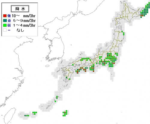 27日15時の予想降水分布
