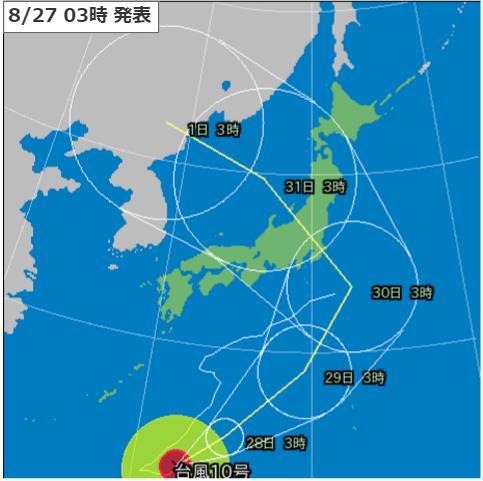 27日3時台風10号進路予測