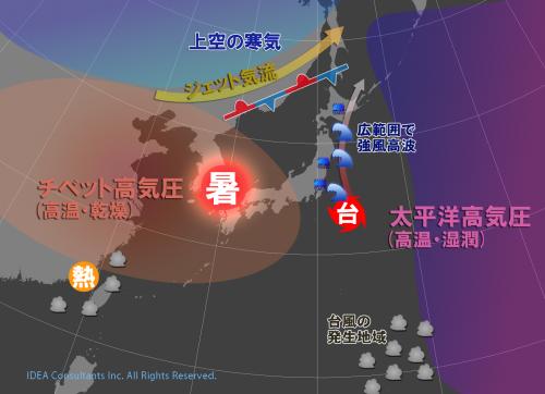 高気圧分裂の狭間を進む台風