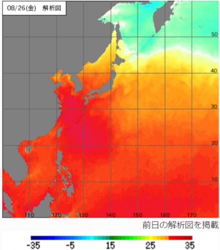 26日の海面水温