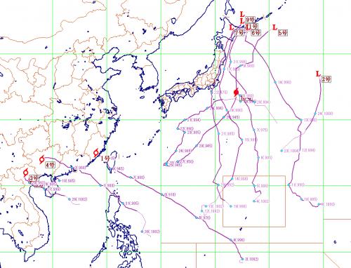 今年の台風の経路