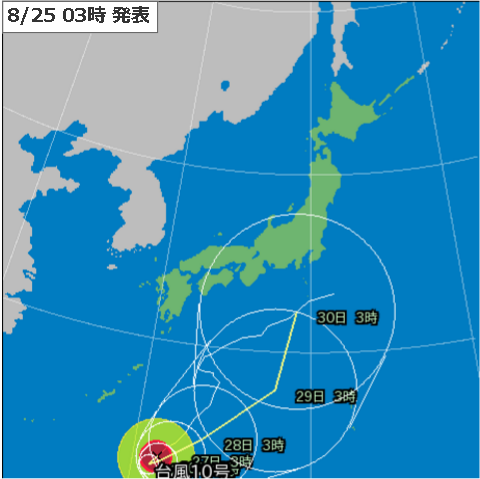 25日3時台風10号予測