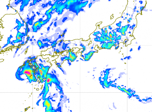 4日15時の雨雲の予測