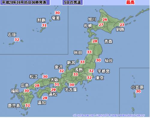 9月5日予想最高気温
