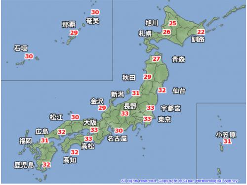 9月6日午後の予想最高気温