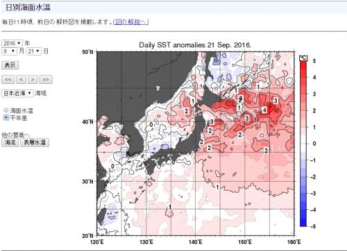 海水温度平年差