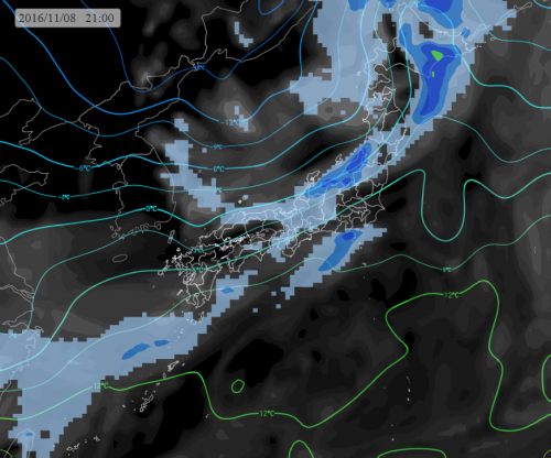 あす夜21時の雨域 1500m気温予測
