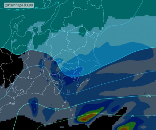 木曜日未明の上空寒気 (雨雪ライン)