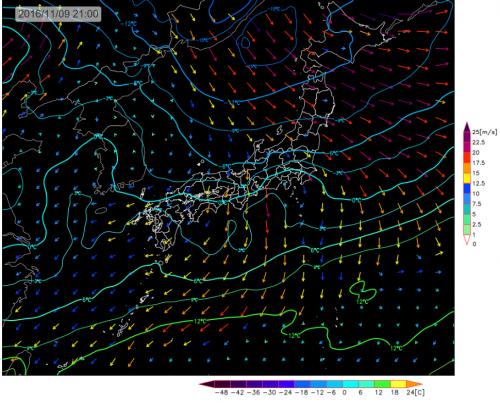 今夜21時の風の予想と上空1500m寒気