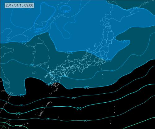 上空1500m付近の寒気 (けさ9時)