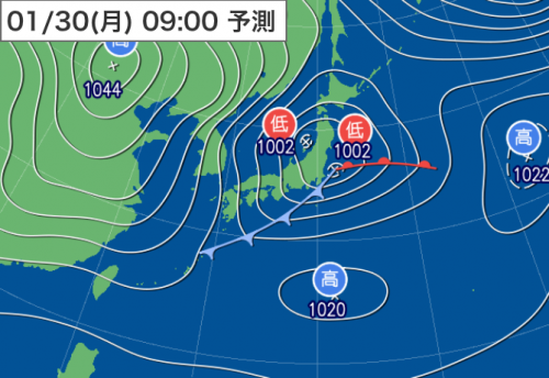 20170129_01309時予想天気図