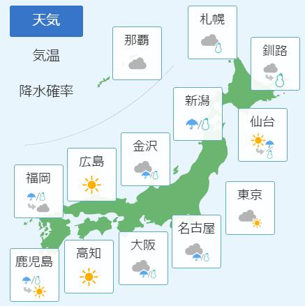 2月11日の天気予報