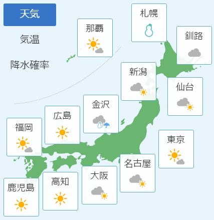 2月13日の天気予報