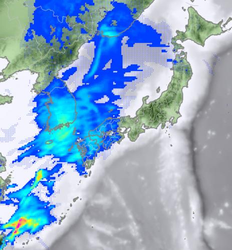 2月22日15時の降水予測