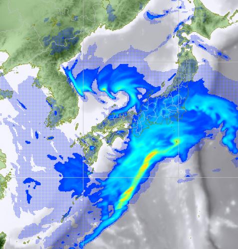 2月9日12時レーダーの降水予想