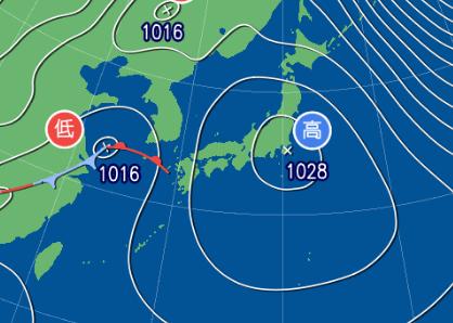 2月22日9時の予想天気図