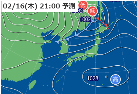 2月16日21時の予想天気図