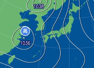 2月14日9時の予想天気図