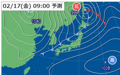 2月17日9時の予想天気図