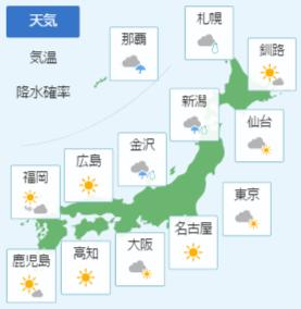 2月25日の天気予報