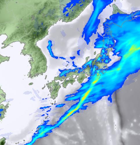 2月23日12時の降水予測域