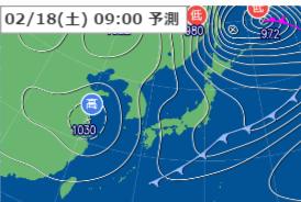 2月18日9時の予想天気図