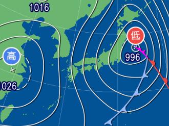 3月2日21時の予想天気図