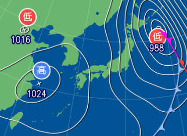 3月3日9時の予想天気図